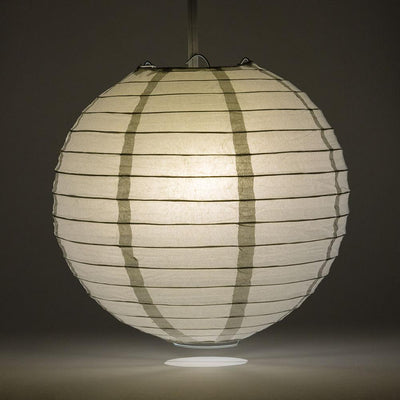 "16"" Silver Round Paper Lantern, Even Ribbing, Chinese Hanging Wedding & Party Decoration"