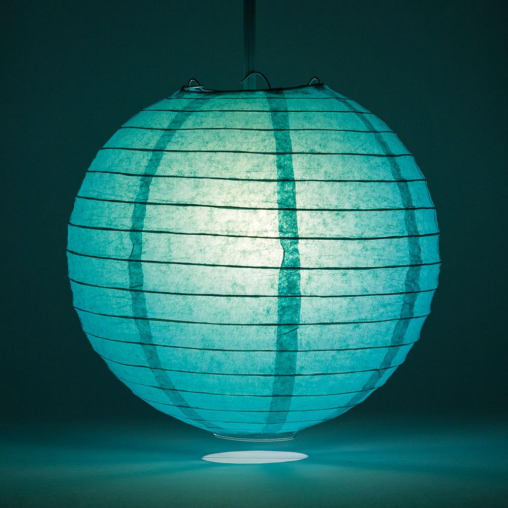 "24"" Teal Green Round Paper Lantern, Even Ribbing, Chinese Hanging Wedding & Party Decoration"