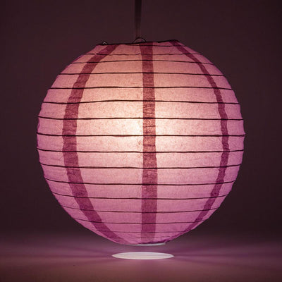 "14"" Violet / Orchid Round Paper Lantern, Even Ribbing, Chinese Hanging Wedding & Party Decoration"
