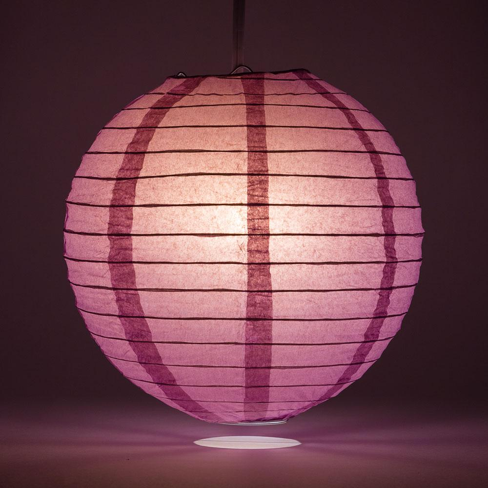 "24"" Violet / Orchid Round Paper Lantern, Even Ribbing, Chinese Hanging Wedding & Party Decoration"
