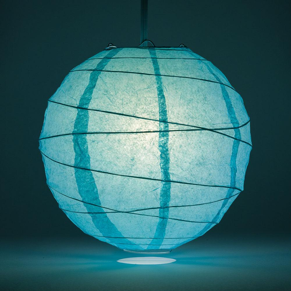 "8"" Water Blue Round Paper Lantern, Crisscross Ribbing, Chinese Hanging Wedding & Party Decoration"