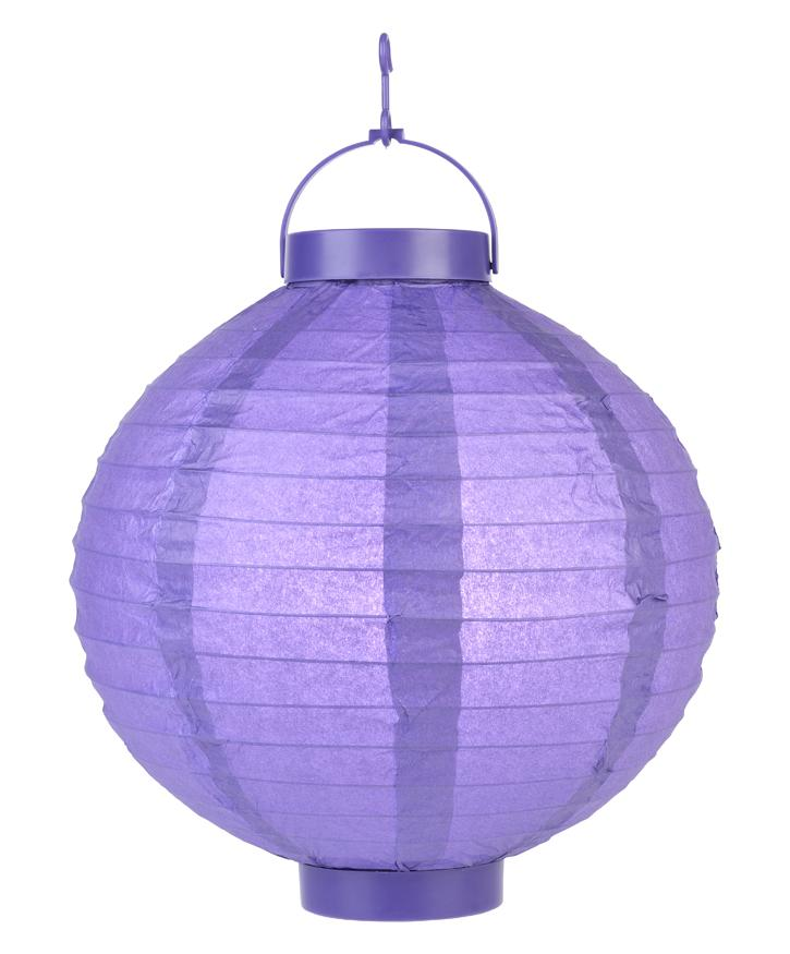 "BLOWOUT 10"" Dark Purple 16 LED Round Battery Operated Paper Lantern w/ Built-in Light-Up Switch"