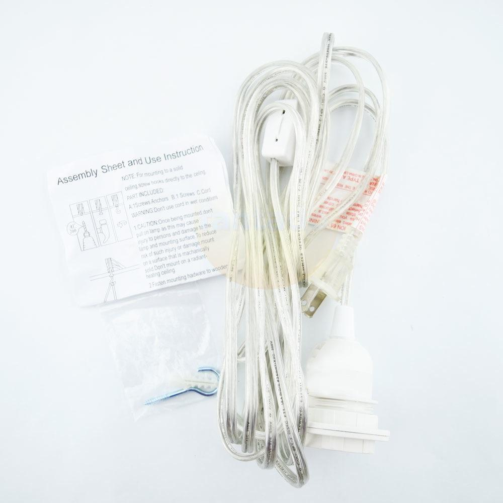 Single Socket Clear Pendant Light Lamp Cord for Lanterns, 11 FT - Electrical Swag Light Kit