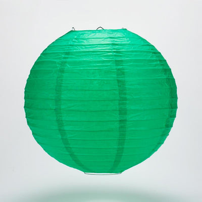 "12"" Arcadia Teal Green Round Paper Lantern, Even Ribbing, Hanging Decoration"