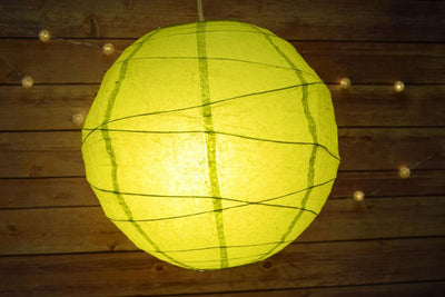 "12"" Chartreuse Yellow Green Round Paper Lantern, Crisscross Ribbing, Chinese Hanging Wedding & Party Decoration"