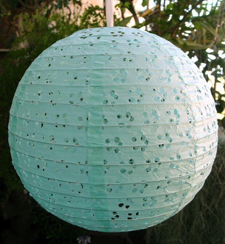 "(Discontinued) 12"" Round Eyelet Lace Look Paper Lantern - Cool Mint Green"