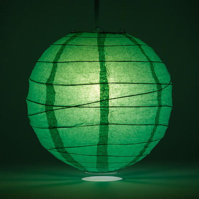 "12"" Emerald Green Round Paper Lantern, Crisscross Ribbing, Chinese Hanging Wedding & Party Decoration"