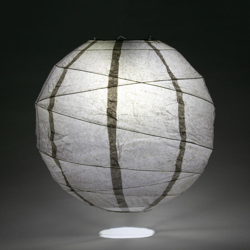 "12"" Driftwood Grey Round Paper Lantern, Crisscross Ribbing, Hanging Decoration"