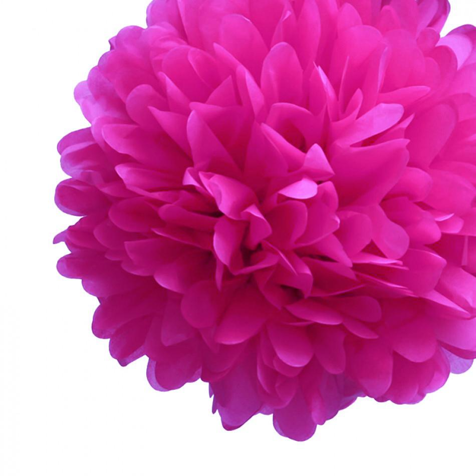 "EZ-Fluff 12"" Fuchsia Tissue Paper Pom Poms Flowers Balls, Decorations (100 PACK) - AsianImportStore.com - B2B Wholesale Lighting and Décor"