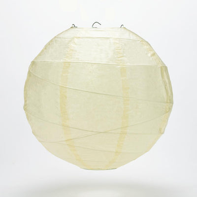 "12"" Ivory Round Paper Lantern, Crisscross Ribbing, Hanging Decoration"