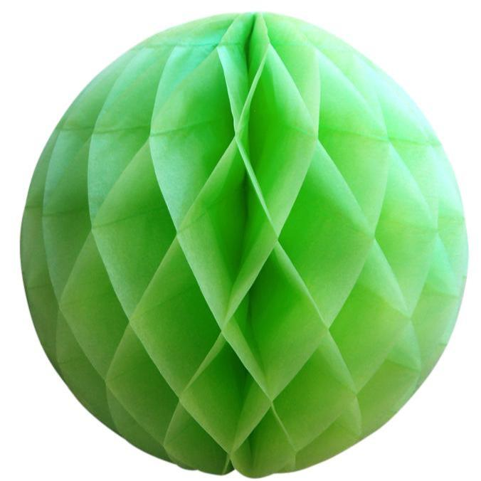 "BLOWOUT 12"" Light Lime Green Round Tissue Lantern, Honeycomb Ball, Hanging (3 PACK)"