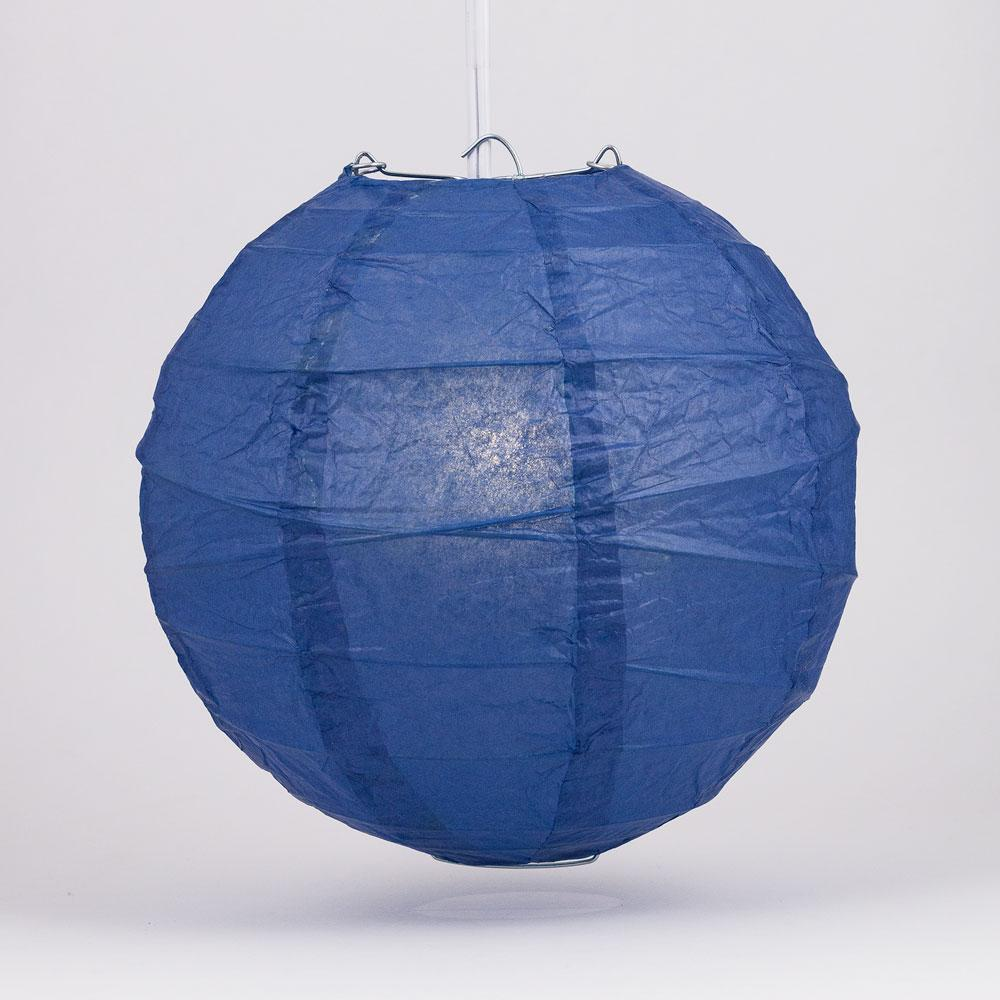 "12"" Navy Blue Round Paper Lantern, Crisscross Ribbing, Chinese Hanging Wedding & Party Decoration"