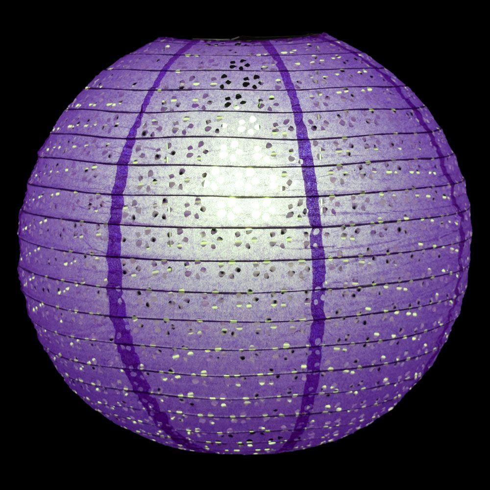 "BLOWOUT 12"" Round Eyelet Lace Look Paper Lantern - Dark Purple"