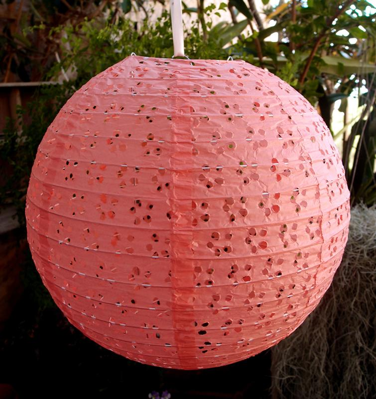 "BLOWOUT 12"" Round Eyelet Lace Look Paper Lantern - Roseate"