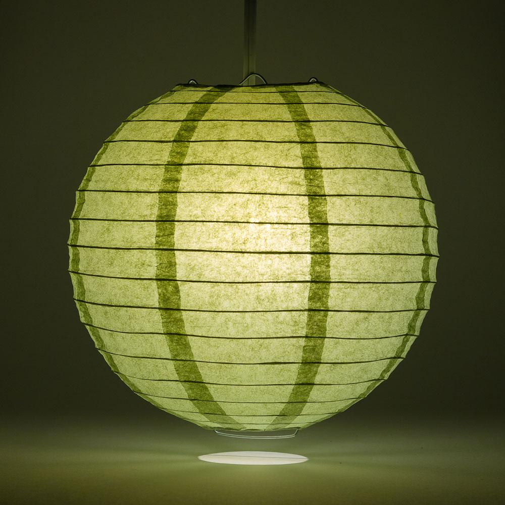 "12"" Sea Green Round Paper Lantern, Even Ribbing, Chinese Hanging Wedding & Party Decoration"
