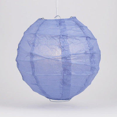 "12"" Serenity Blue Round Paper Lantern, Crisscross Ribbing, Chinese Hanging Wedding & Party Decoration"
