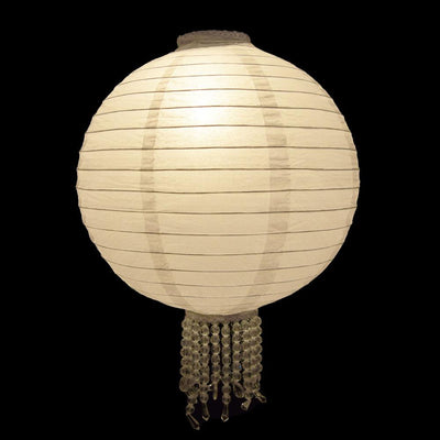"12"" White Bejeweled Round Royal Wedding Paper Lantern, Even Ribbing, Chinese Hanging Wedding & Party Decoration with Beading"