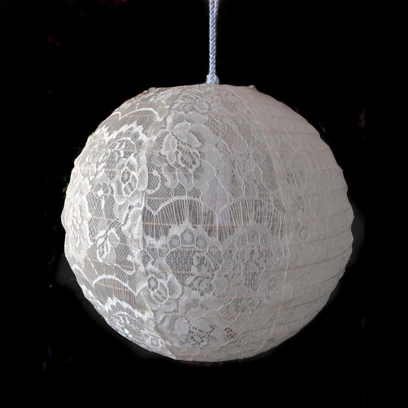 "12"" Beige / Ivory Lace Fabric Lantern, Even Ribbing, Chinese Hanging Wedding & Party Decoration"