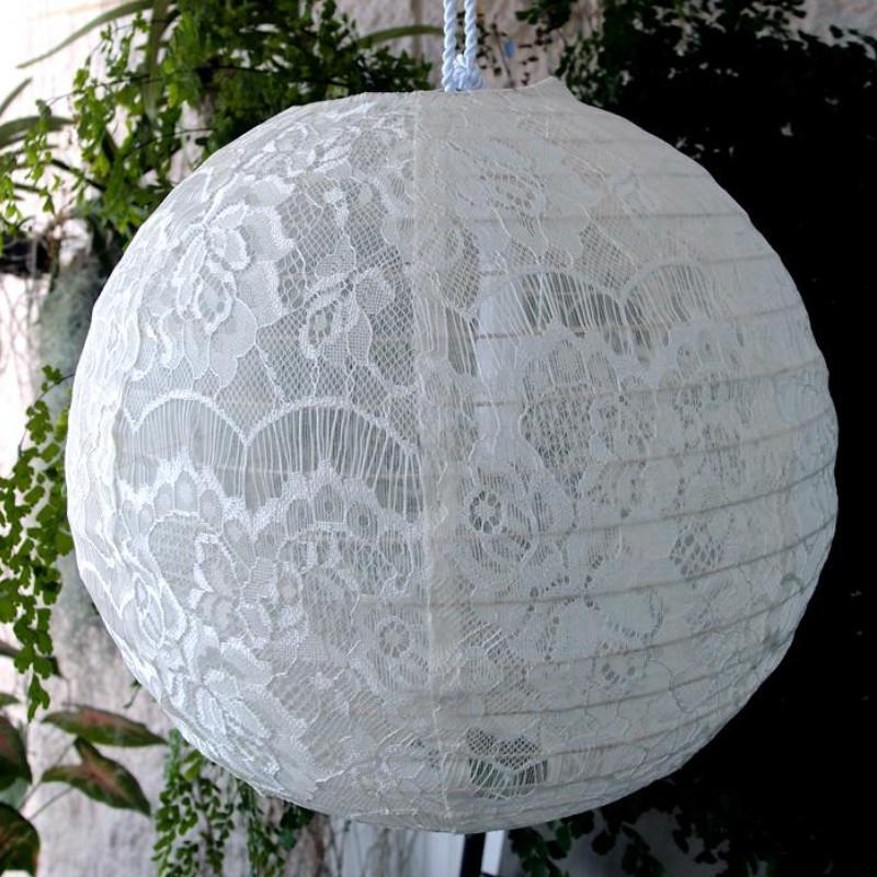 "12"" White Lace Fabric Lantern, Even Ribbing, Chinese Hanging Wedding & Party Decoration"