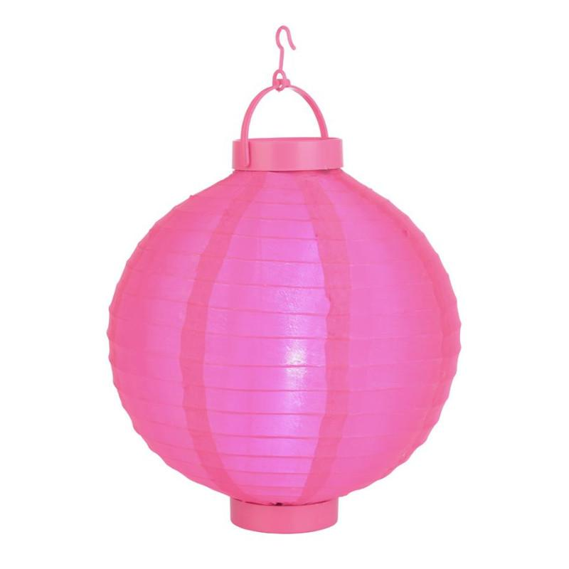 "BLOWOUT 12"" Hot Pink 16 LED Round Battery Operated Shimmering Nylon Lantern"