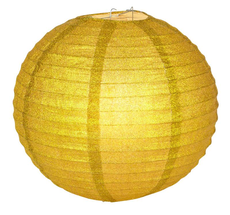 "12"" Gold Glitter Round Paper Lantern, Chinese Hanging Wedding & Party Decoration"
