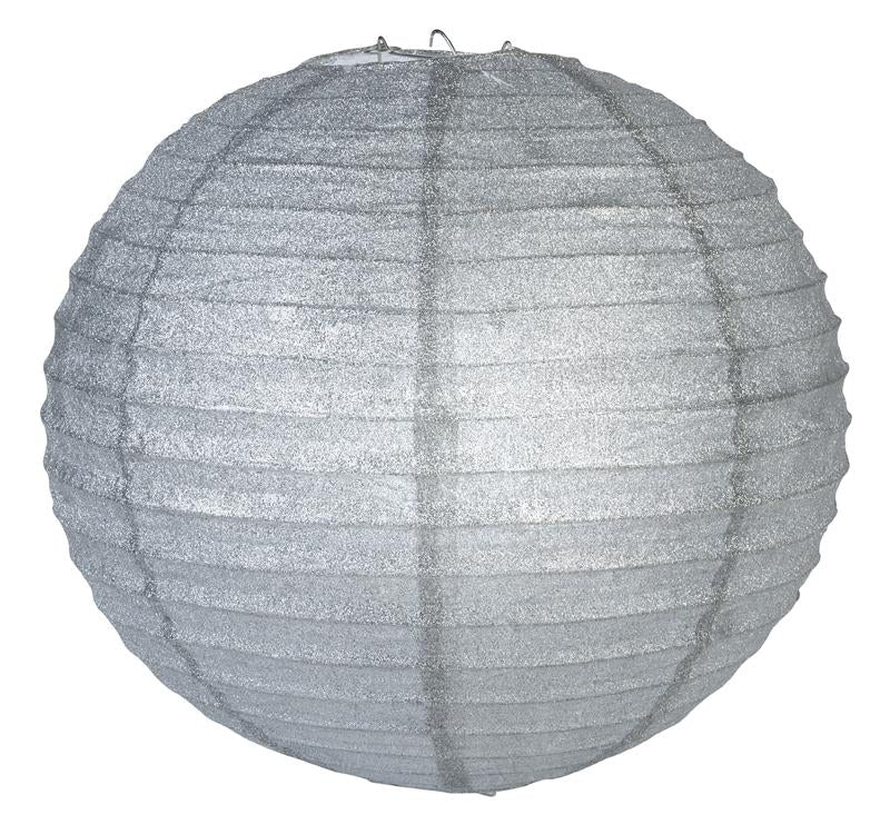 "12"" Silver Glitter Round Paper Lantern, Chinese Hanging Wedding & Party Decoration"