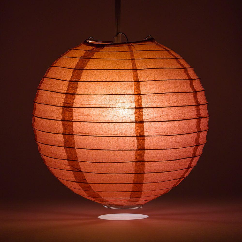 "14"" Marsala / Burgundy Wine Round Paper Lantern, Even Ribbing, Chinese Hanging Wedding & Party Decoration"