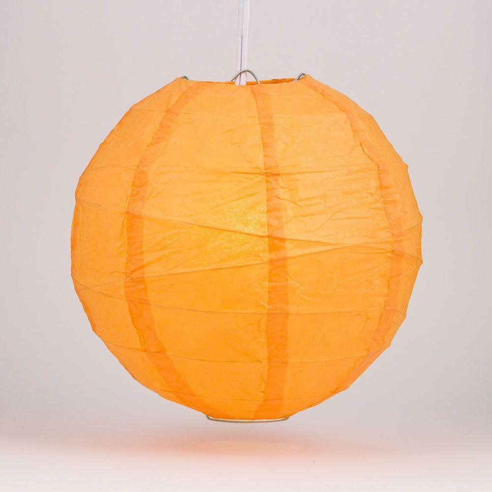 "16"" Orange Round Paper Lantern, Crisscross Ribbing, Chinese Hanging Wedding & Party Decoration - AsianImportStore.com - B2B Wholesale Lighting and Decor"