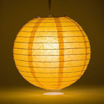 "16"" Papaya Round Paper Lantern, Even Ribbing, Chinese Hanging Wedding & Party Decoration"