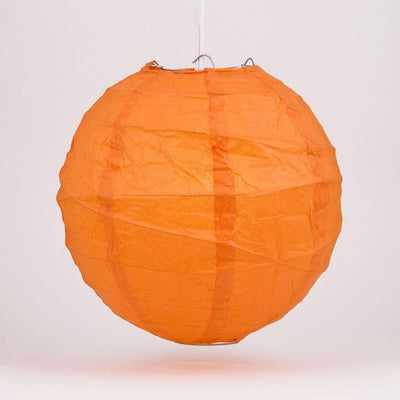 "12"" Persimmon Orange Round Paper Lantern, Crisscross Ribbing, Chinese Hanging Wedding & Party Decoration"