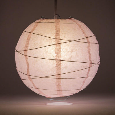 "16"" Pink Round Paper Lantern, Crisscross Ribbing, Chinese Hanging Wedding & Party Decoration"
