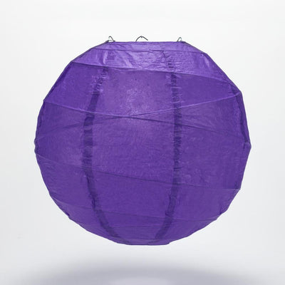 "14"" Plum Purple Round Paper Lantern, Crisscross Ribbing, Chinese Hanging Wedding & Party Decoration - AsianImportStore.com - B2B Wholesale Lighting and Decor"