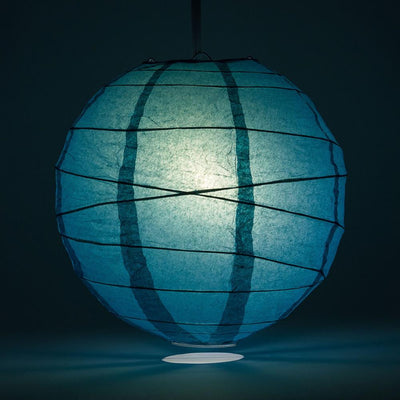 "14"" Tahiti Teal Round Paper Lantern, Crisscross Ribbing, Chinese Hanging Wedding & Party Decoration"