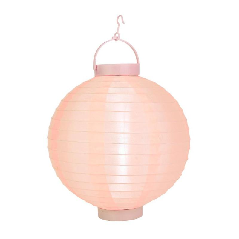 "BLOWOUT 14"" Rose Quartz Pink 16 LED Round Battery Operated Shimmering Nylon Lantern"