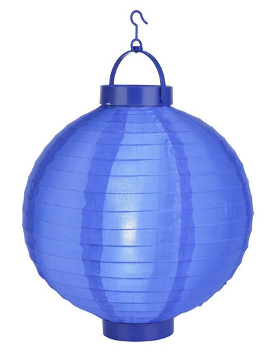"(Discontinued) 14"" Dark Navy Blue 16 LED Round Battery Operated Shimmering Nylon Lantern"