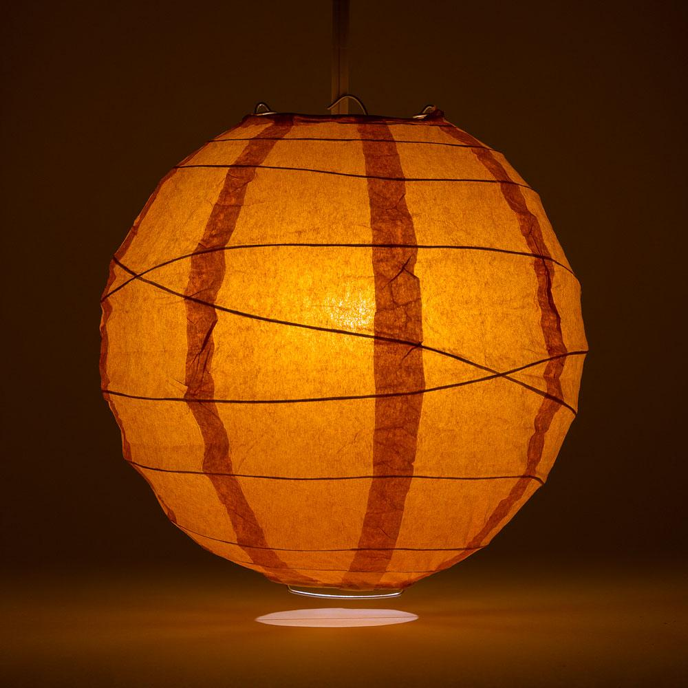 "16"" Persimmon Orange Round Paper Lantern, Crisscross Ribbing, Chinese Hanging Wedding & Party Decoration"
