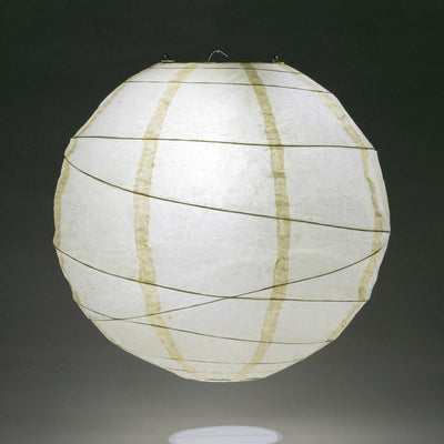 "16"" Ivory Round Paper Lantern, Crisscross Ribbing, Hanging Decoration"