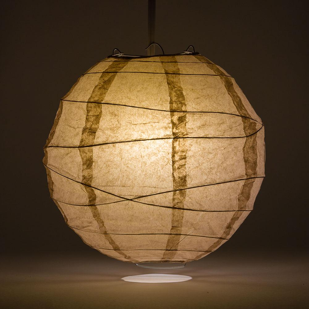 "20"" Mocha / Light Brown Round Paper Lantern, Crisscross Ribbing, Chinese Hanging Wedding & Party Decoration"