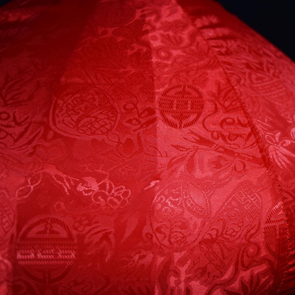 Medium Red Vietnamese Silk Lantern, Diamond Shaped