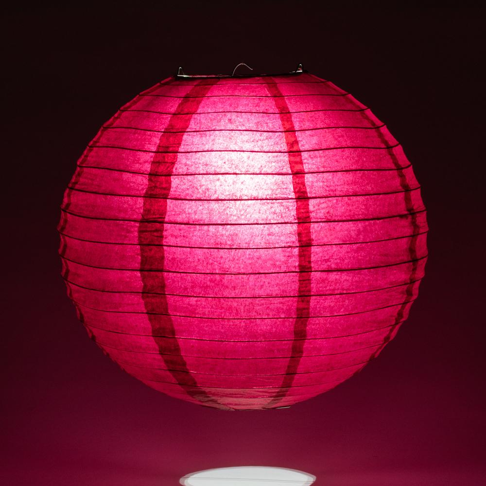 "16"" Velvet Rose Red Round Paper Lantern, Even Ribbing, Hanging Decoration"