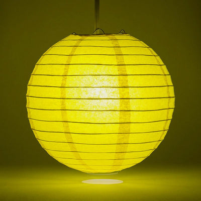 "16"" Yellow Round Paper Lantern, Even Ribbing, Chinese Hanging Wedding & Party Decoration"