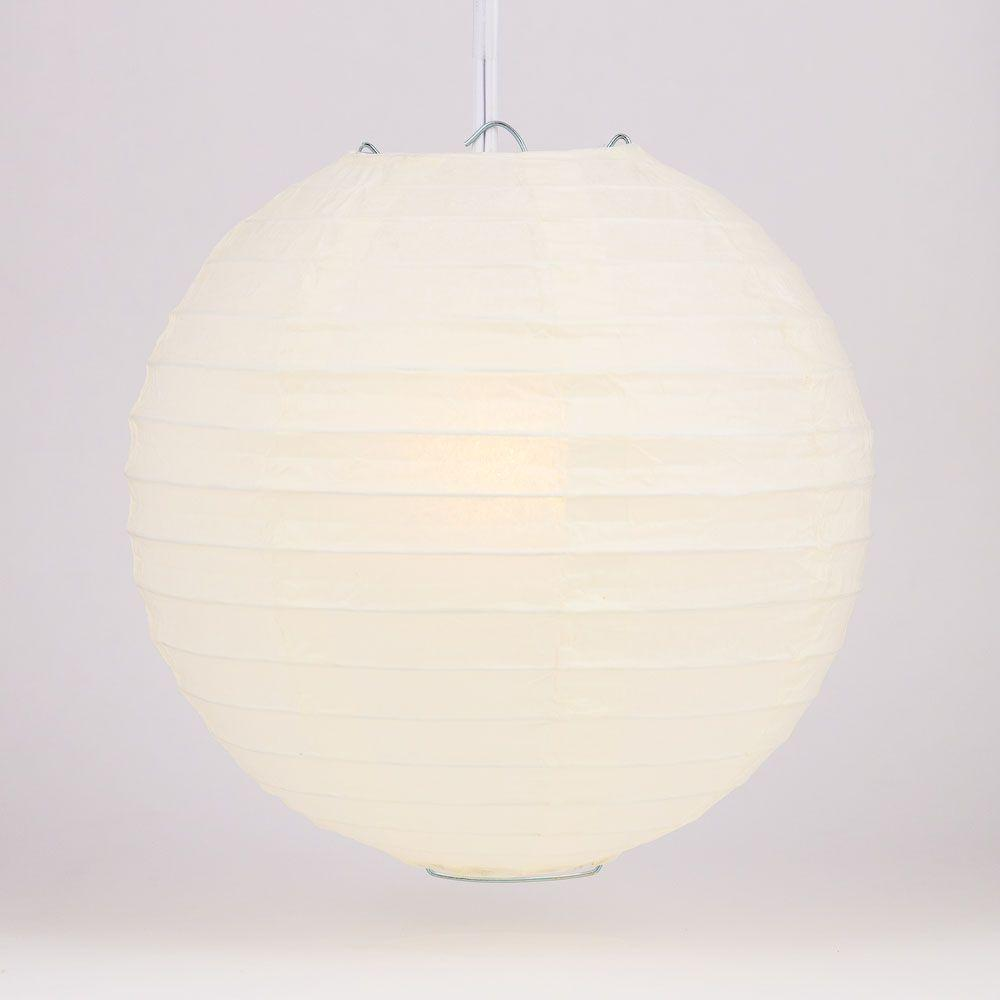 "4"" Beige / Ivory Round Paper Lantern, Even Ribbing, Hanging Decoration (10 PACK) - AsianImportStore.com - B2B Wholesale Lighting and Decor"