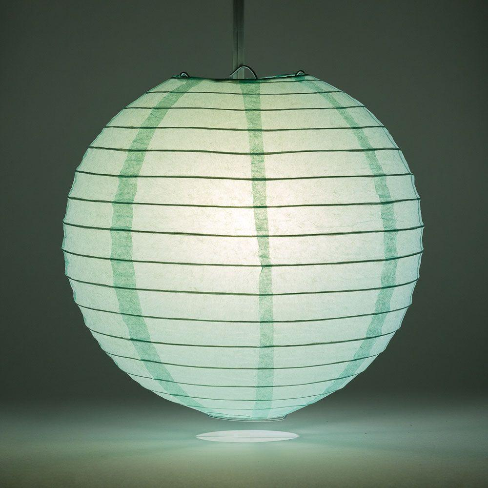 "24"" Cool Mint Green Round Paper Lantern, Even Ribbing, Chinese Hanging Wedding & Party Decoration - AsianImportStore.com - B2B Wholesale Lighting and Decor"