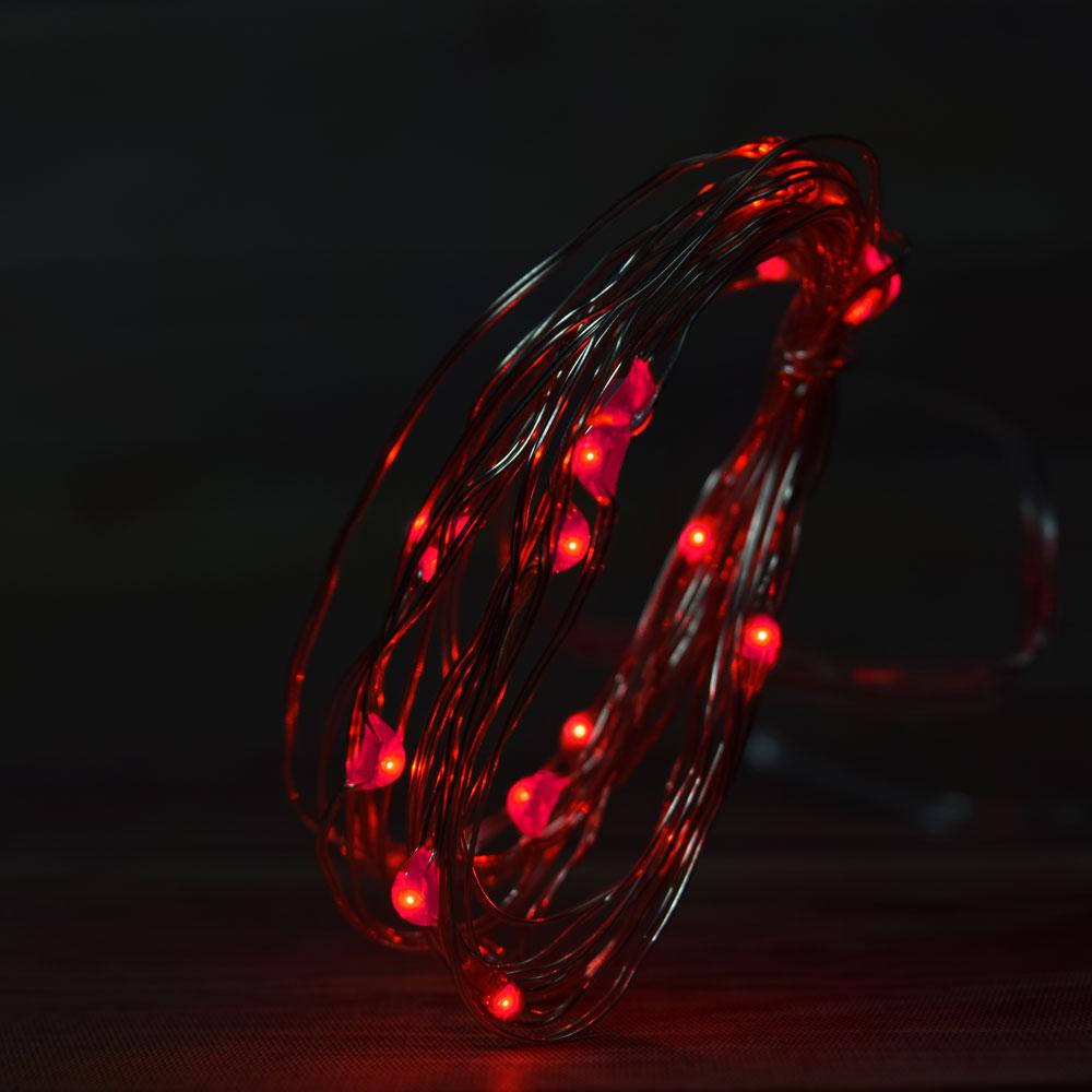 7.5 FT | 20 LED Weatherproof Battery Operated Copper Wire Red Fairy String Lights With Timer - AsianImportStore.com - B2B Wholesale Lighting and Decor