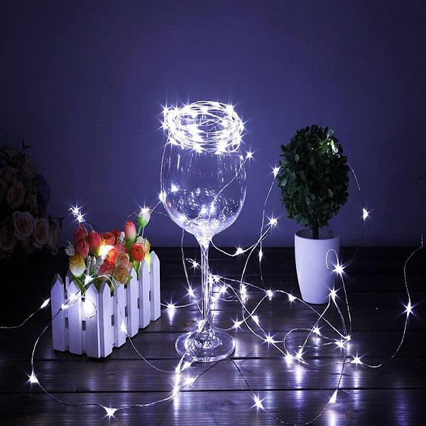 7.5 FT | 20 LED Weatherproof Battery Operated Cool White Copper Wire Fairy String Lights With Timer - AsianImportStore.com - B2B Wholesale Lighting and Decor