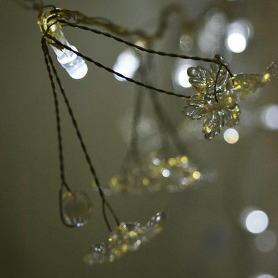 BLOWOUT 20 LED Garland String Light Chain w/ Flowers and Beads (Battery Operated)