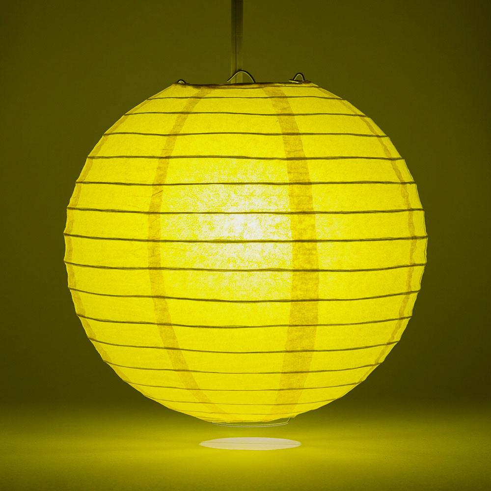 "20"" Yellow Round Paper Lantern, Even Ribbing, Chinese Hanging Wedding & Party Decoration"