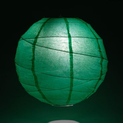 "14"" Arcadia Teal Round Paper Lantern, Crisscross Ribbing, Chinese Hanging Wedding & Party Decoration - AsianImportStore.com - B2B Wholesale Lighting and Decor"