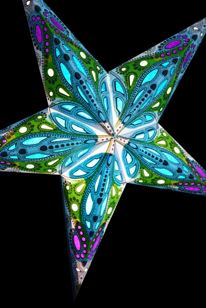 "24"" Blue Dahlia Paper Star Lantern, Chinese Hanging Wedding & Party Decoration"