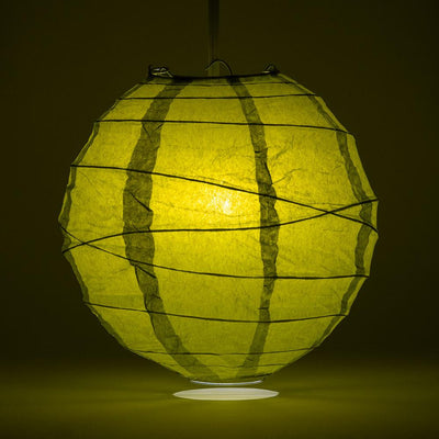 "24"" Chartreuse Yellow Green Round Paper Lantern, Crisscross Ribbing, Hanging - AsianImportStore.com - B2B Wholesale Lighting and Decor"